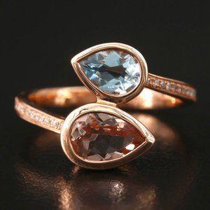 EFFY 3.15 CT Diamond, Morganite & Aquamarine / 14K